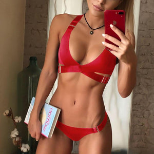 Fashion Adjustable Buckle Solid Color Sexy Bikini