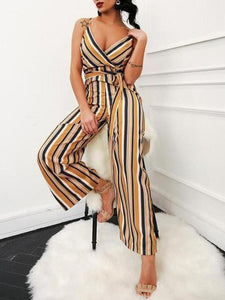 Sexy Elegant Slim Strip Sleeveless Braces Jumpsuit