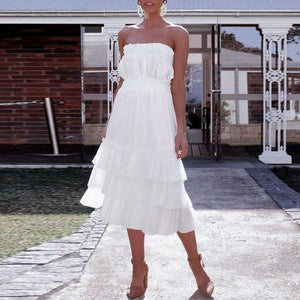 Summer Off Shoulder Plain Ruffled Vacation Dress