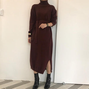 Casual High Collar Pure Colour Slit Knitted Dresses