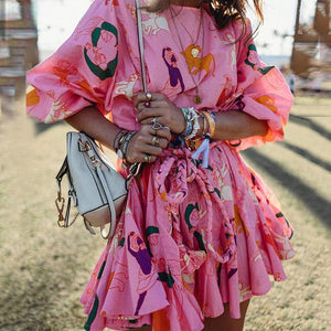 Bohemian Sweet Printed Colour Bracelet Sleeve Loose Dress