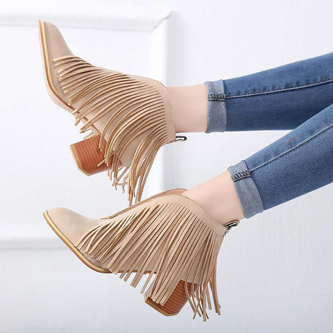 Fashion Low Heel Tassel Pure Colour Boots