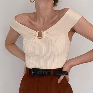 Women's Off-The-Shoulder Vertical Knit Vest Top