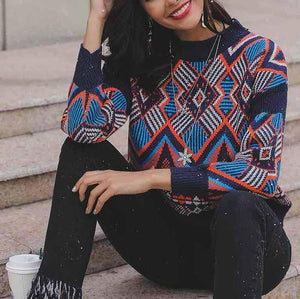 Fashion Round Neck Geometry Pattern Sweater