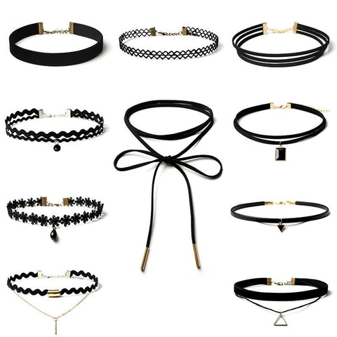 Gothic Polo fake collar choker necklace set