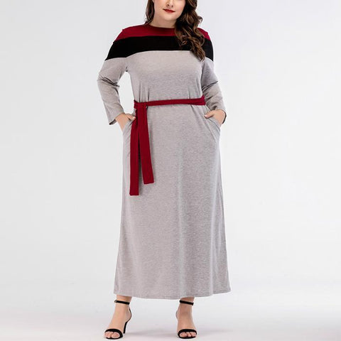 Plus-Size Fashion Round Collar Contrasting Colors Long-Sleeved Maxi Dress