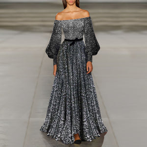 Off-The-Shoulder Long Sequin Evening Dress