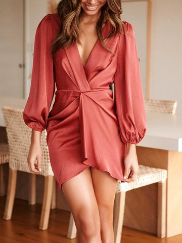 Solid Color V-Neck Pleated Design Loose Casual Mini Dress