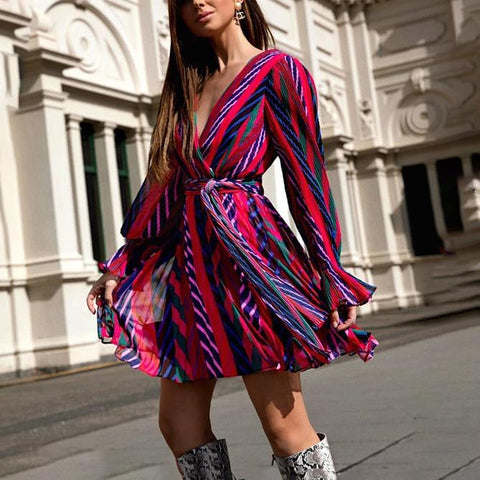 V-Neck Rainbow Print Mini Dress