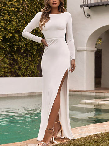 Sexy Backless Slit Long Sleeves Dress