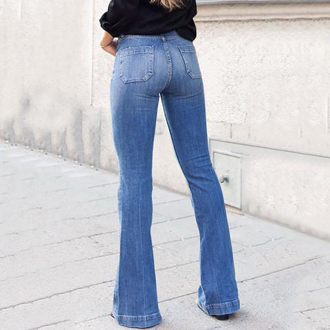 Fashion Slim Body High Waist Wide Leg Pants Jeans