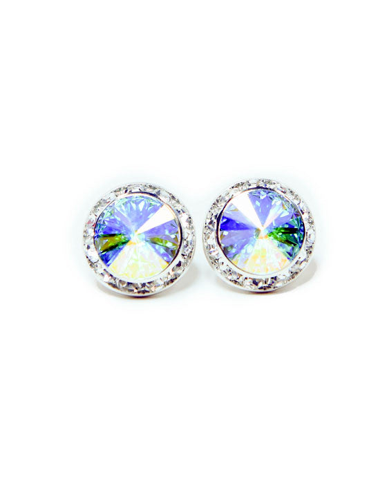15mm AB Pierced Crystal Earrings