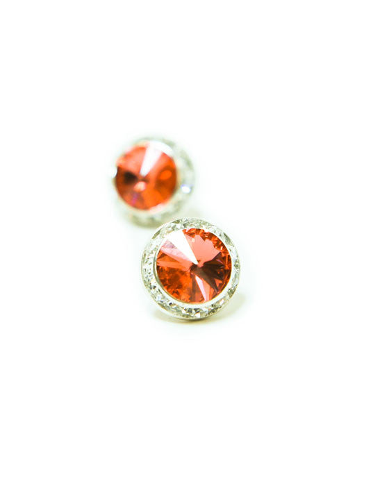 15mm Amber Pierced Crystal Earrings