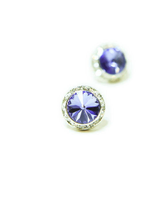 15mm Amethyst Pierced Crystal Earrings