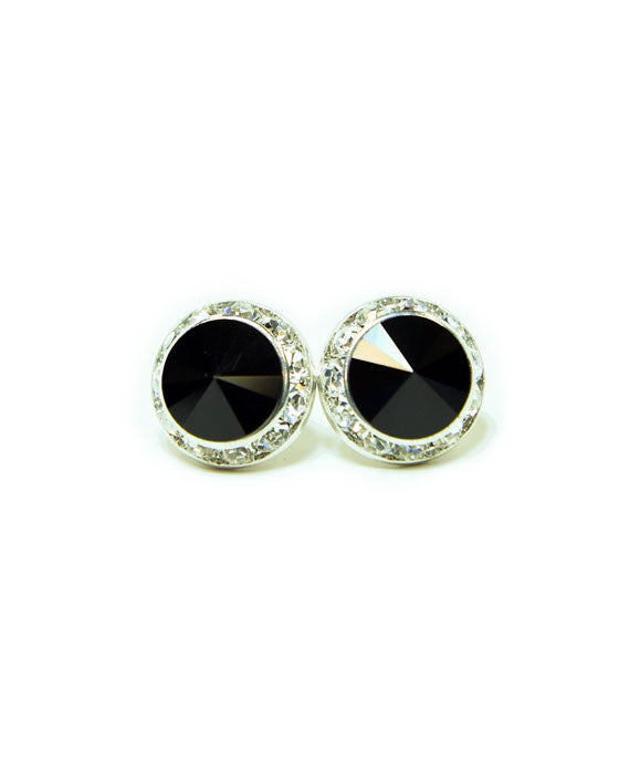 15mm Black Pierced Crystal Earrings