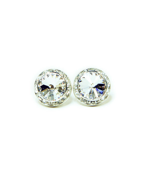 15mm Clear Clip-On Crystal Earrings