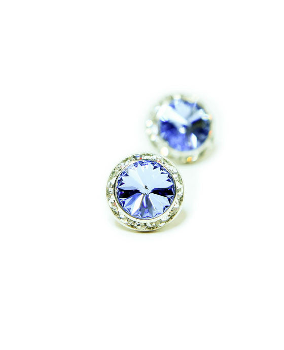 15mm Light Blue Pierced Crystal Earrings