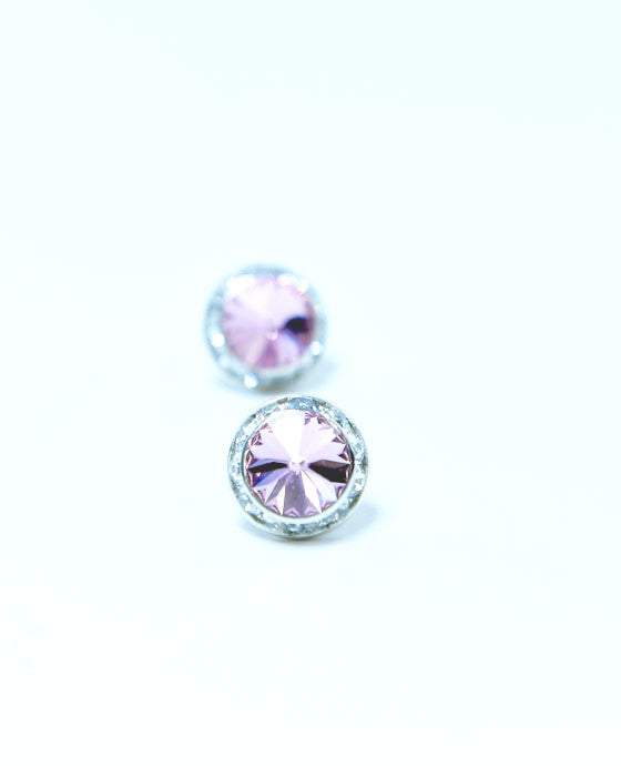 15mm Light Pink Pierced Crystal Earrings