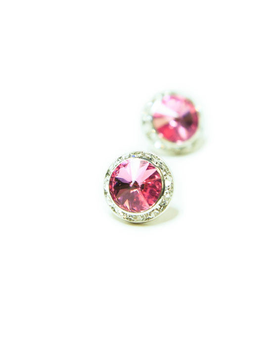 15mm Pink Pierced Crystal Earrings