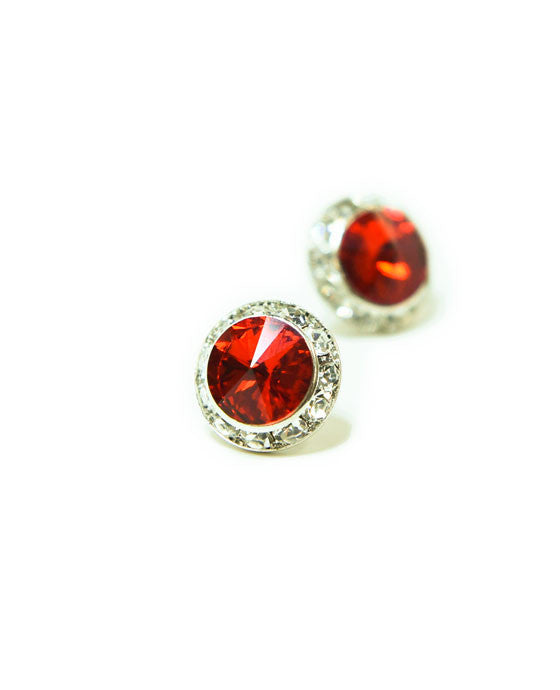 15mm Red Pierced Crystal Earrings
