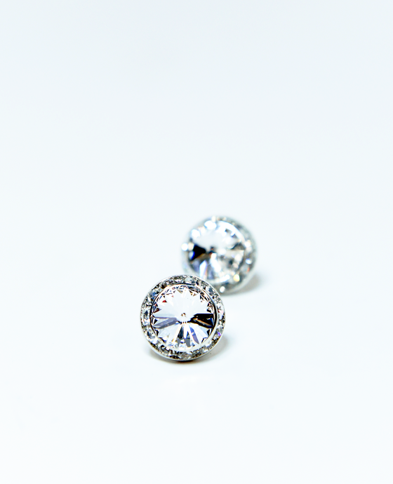 15mm Clear Pierced Crystal Earrings