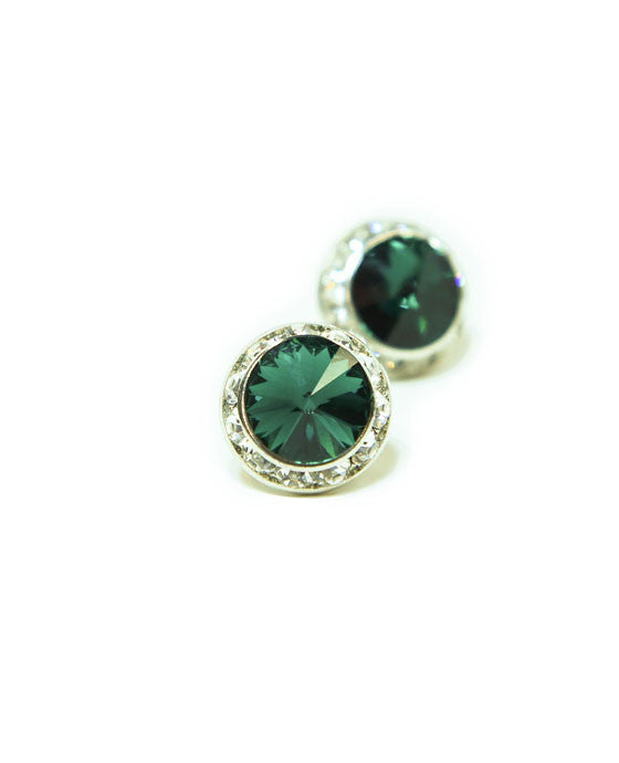 15mm Emerald Pierced Crystal Earrings