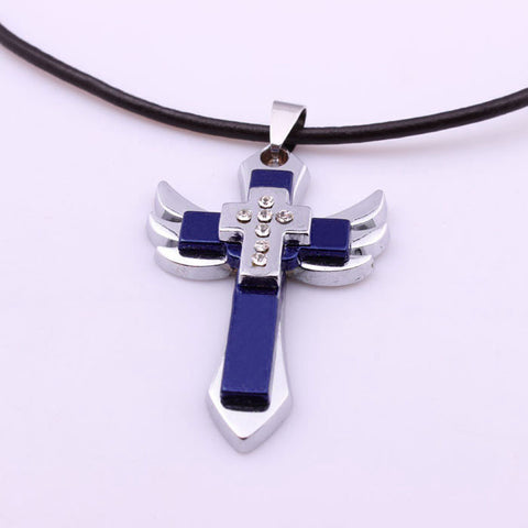 Titanium Steel Cross Wing Pendant Necklace