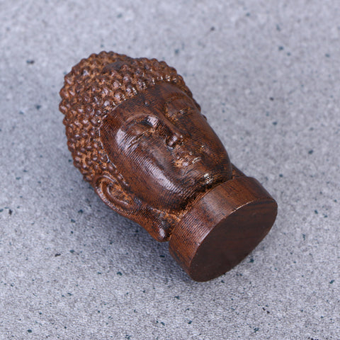 Wooden Buddha Head Figurine