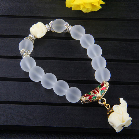 Ethnic Crystal Elephant Beads Bracelet