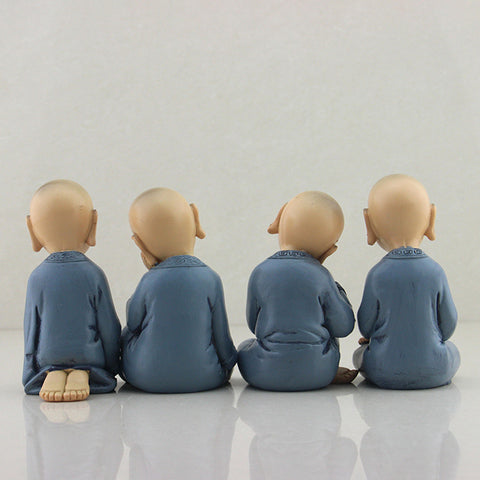 4 Pcs Resin Monks Figurine