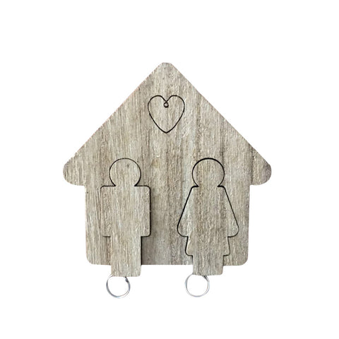 Wooden Couples Keyring Set