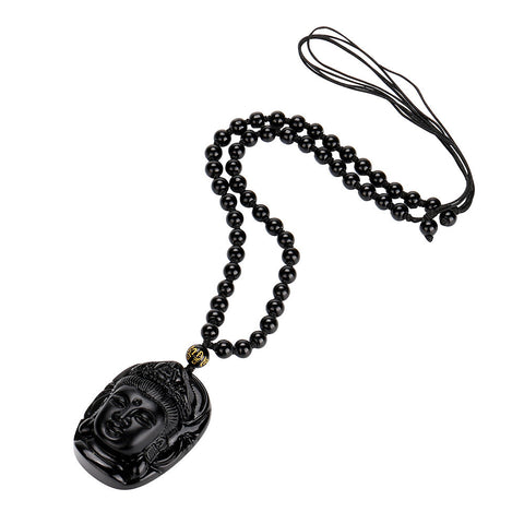 Lucky Buddha Natural Obsidian Necklace