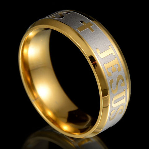 18k Silver Gold Plated Jesus Ring