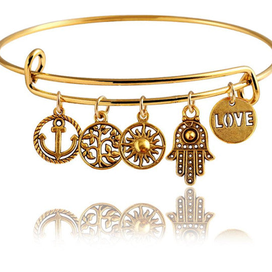 Gold Destiny Charm Bangle