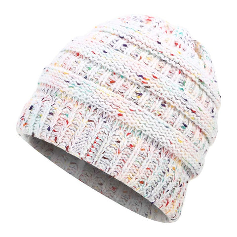 Soft Knit Ponytail Beanie Hat Stretch Messy Bun Winter Cap Women Skullies Beanies Warm Caps Fashion Knitted Woolen Crochet Hats