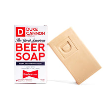 Load image into Gallery viewer, Great American Beer Soap, Duke Cannon, Big Ass Soap, Budweiser Soap, Cedarwood Scent, American Style Lager