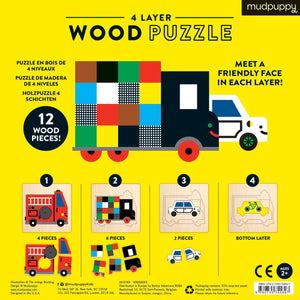 Transportation 4-Layer Wooden Puzzle
