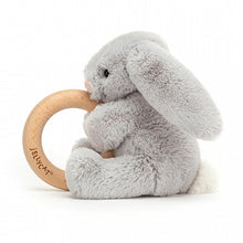 Load image into Gallery viewer, Bashful Bunny Wooden Ring Toy