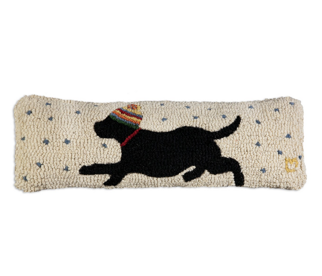 Black Lab Holiday Pillow