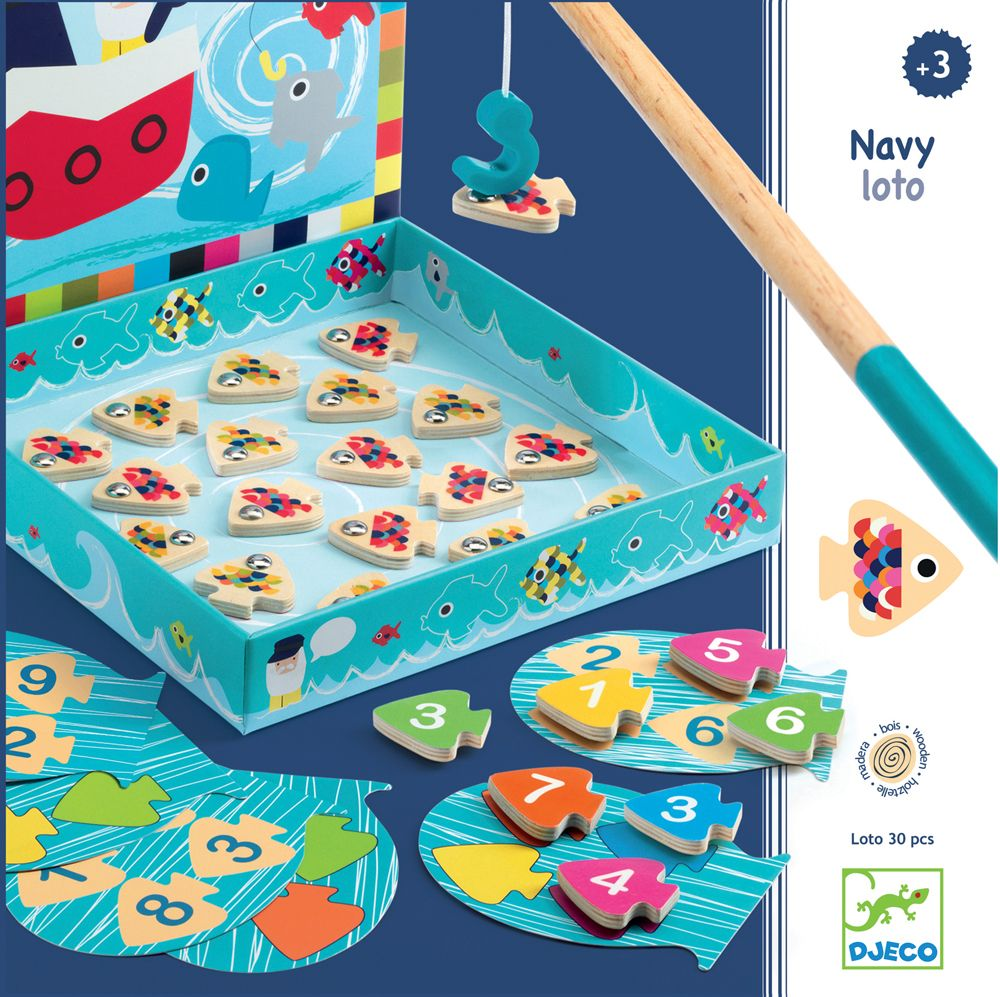 Magnetic Fishing Game - Navy Loto box with a fishing pole catching a magnetic fish, Djeco