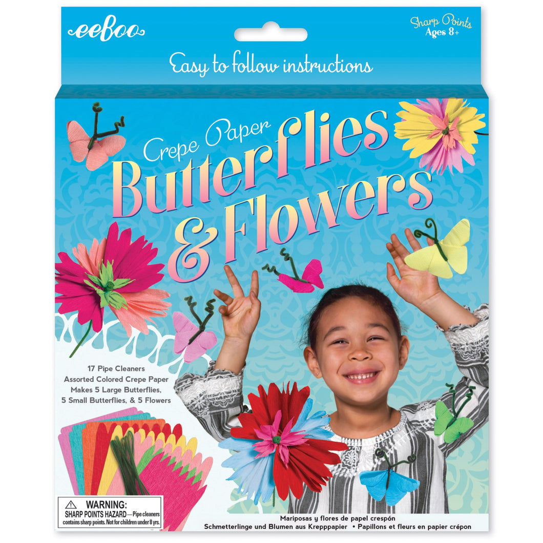 Crepe Paper Butterflies and Flowers Kit, eeBoo