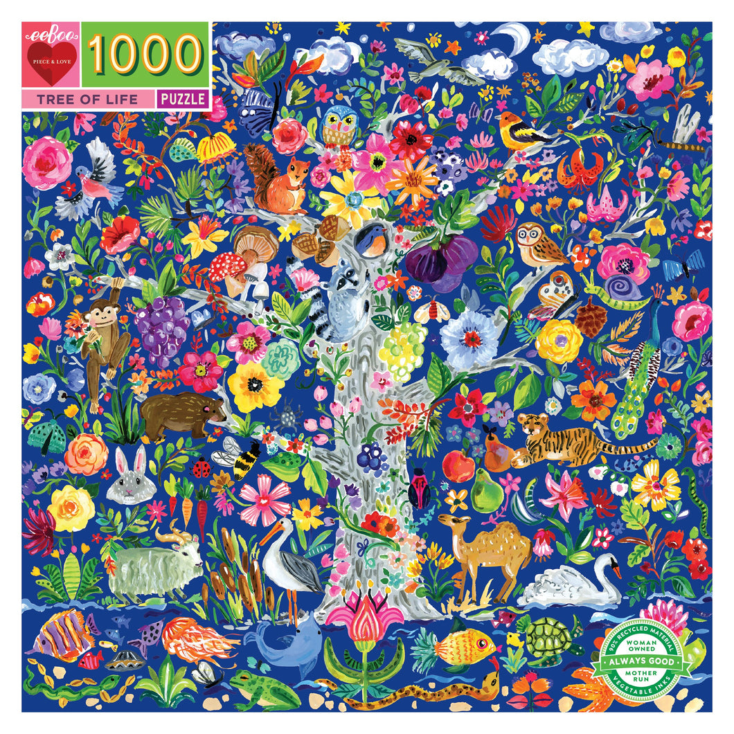 Tree of Life Eeeboo puzzle, large tree illustrated with large variety of garden flowers, fruit, forest wildlife and colorful sea creatures.