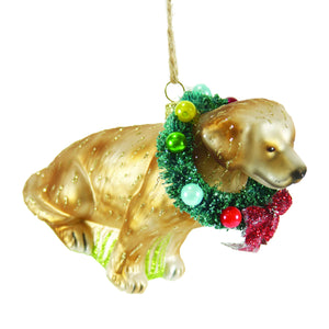 Festive Yellow Lab Ornament