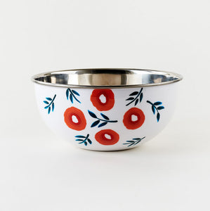 Hand Painted Poppy Salad Bowl, Stainless Steel