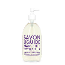 "Load image into Gallery viewer, Glass Liquid Soap bottle labeled ""Savon Liquide Marseille Extra pur, Lavande Aromatique"""