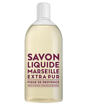 "Load image into Gallery viewer, Liquid Soap refill bottle labeled ""Savon Liquide Marseille Extra pur, Figue De Provence"""