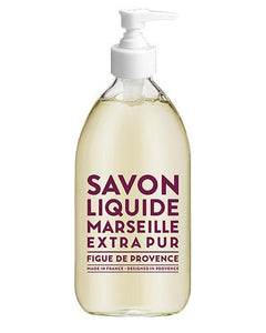 "Glass Liquid Soap bottle labeled ""Savon Liquide Marseille Extra pur, Figue De Provence"""