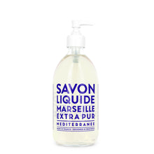 "Load image into Gallery viewer, Glass Liquid Soap bottle labeled ""Savon Liquide Marseille Extra pur, Mediterranee"""
