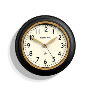 Classic Kitchen Wall Clock, Black/Gold/Brass