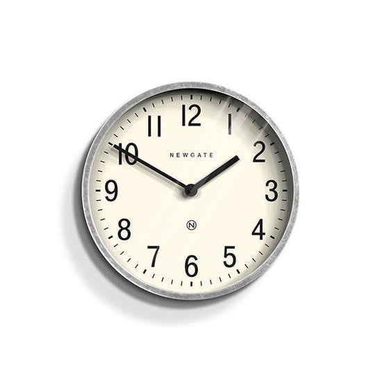 Master Edwards Small Wall Clock, Galvanized Metal